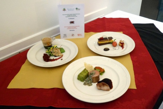 The three courses prepared by the German team that we would eating