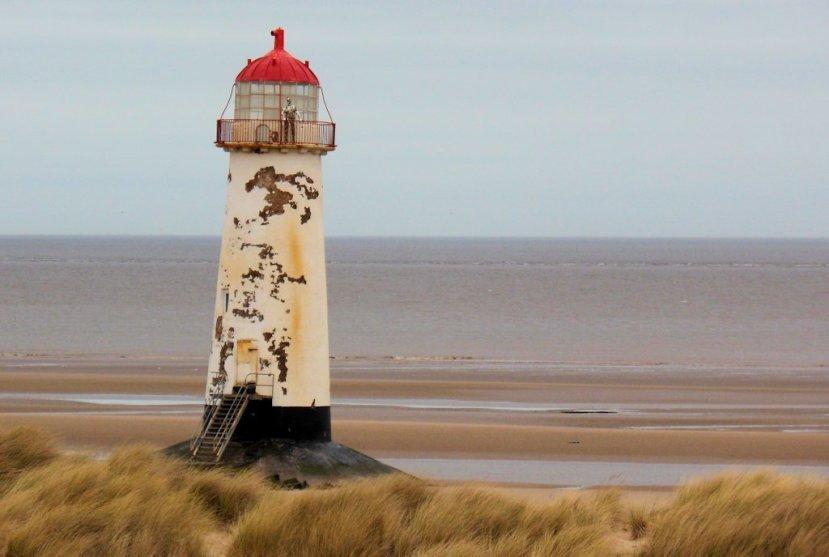 Talacre Beach Lighthouse from the sand dunes