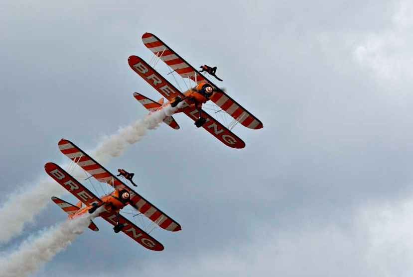 The Breitling Wing-Walkers performing at Rhyl Air Show in 2011
