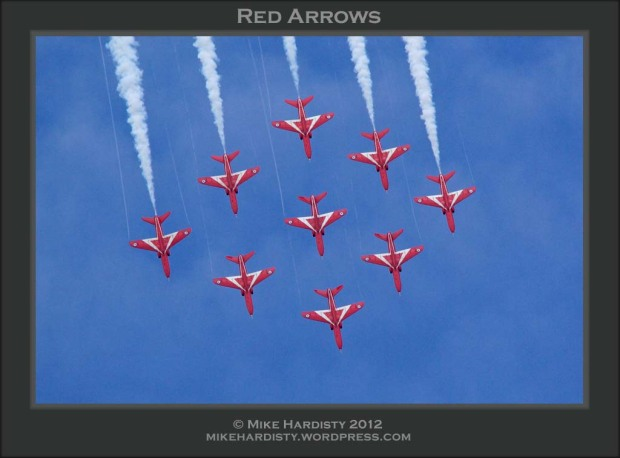 The Red Arrows, officially known as the Royal Air Force Aerobatic Team, is the aerobatics display team of the Royal Air Force, seen here in their trademark Diamond 9 formation