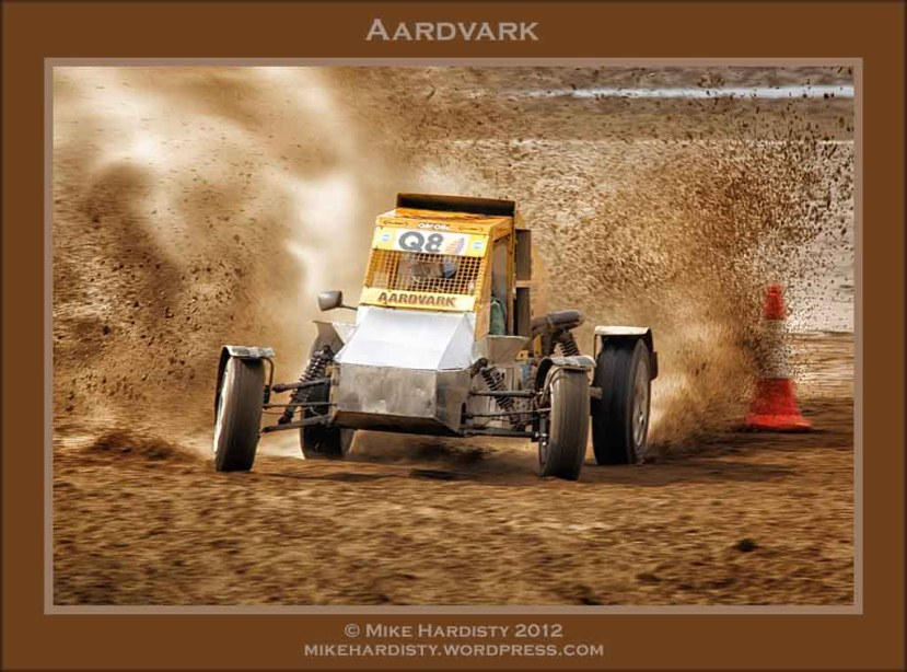 A car taking part in the annual Sandocross Competition on the sands at Weston-super-Mare